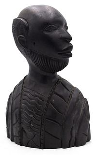 African Iron Wood Man Bust