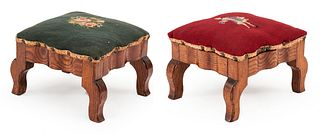 Pair of French Victorian Needlepoint Foot Stools