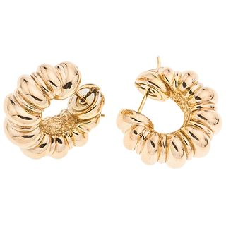 HOOPS ROUND EARRINGS. 18K YELLOW GOLD. CHIMENTO