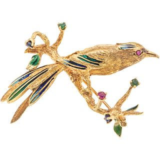 ENAMEL AND SIMULANTS BROOCH. 16K YELLOW GOLD