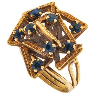 SAPPHIRES RING. 16K YELLOW GOLD