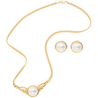 NECKLACE AND EARRINGS SET WITH HALF PEARLS AND DIAMONDS. 18K YELLOW GOLD