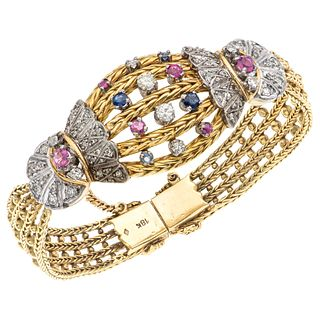 SAPPHIRES, RUBIES AND DIAMONDS WRISTBAND. 18K YELLOW GOLD, PALLADIUM SILVER AND METAL BASE