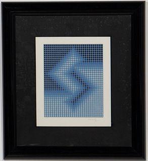 """VASARELY, """"BLUE V"""", SIGNED SERIGRAPH, 30/300"""