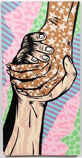 "CHRIS HOBE, ""HANDS OF LIBERTY"" STREET ART ON BOARD"