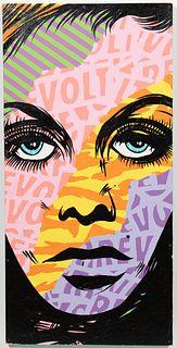 """CHRIS HOBE, """"REVOLT"""" STREET ART, OIL ON BOARD"""