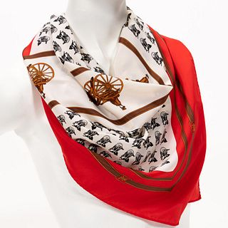 HERMES FRANCE, HORSE AND CHARIOT SILK SCARF