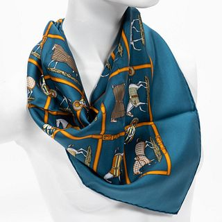 "HERMES ""PETITS CHEVAUX"" EQUESTRIAN SILK SCARF"