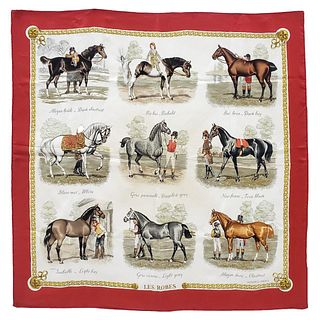 "HERMES, EQUESTRIAN ""LES ROBES"" FRENCH SILK SCARF"