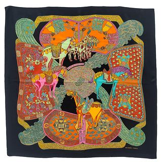 "HERMES, ""ART DES STEPPES"" FRENCH SILK SCARF"