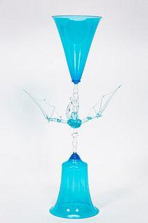 """LUCIO BUBACCO """"IKARUS"""" ART GLASS CHALICE SCULPTURE"""