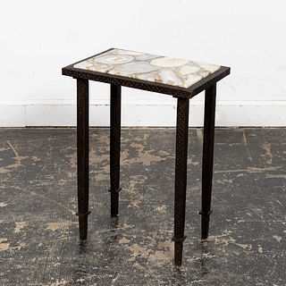 CONTINENTAL DIMINUTIVE AGATE AND IRON SIDE TABLE