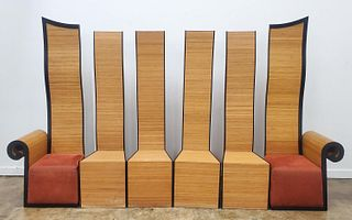 SET, SIX HIGH BACK POSTMODERN DINING CHAIRS