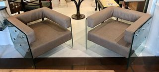 PAIR, HEAVY GLASS SIDED MODERN CLUB CHAIRS