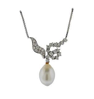 18K Gold Diamond Pearl Necklace