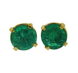 18K Gold Emerald Stud Earrings