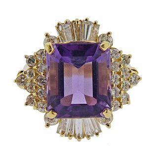 14K Gold Diamond Amethyst Cocktail Ring