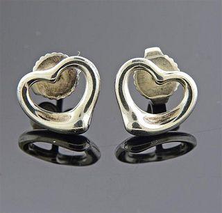 Tiffany & Co Elsa Peretti Silver Open Heart Stud Earrings