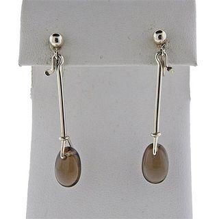 Georg Jensen Silver Smoky Quartz Drop Earrings