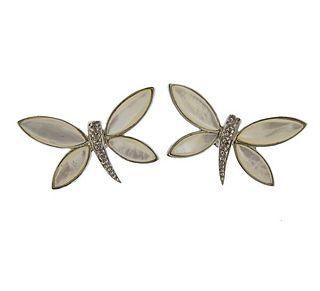 18K Gold Diamond MOP Butterfly Earrings