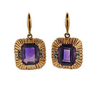 14K Gold Diamond Amethyst Earrings