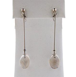 Georg Jensen Silver Rutilated Quartz Drop Earrings