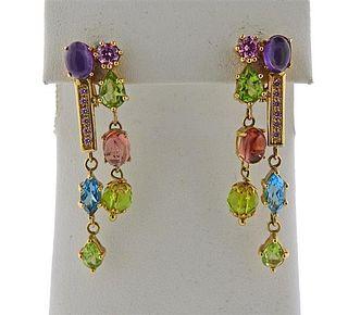 14K Gold Multi Color Stone Earrings