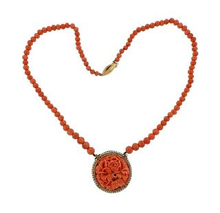 Antique 14k Gold Carved Bead Coral Pearl Necklace