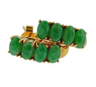 18K Gold Diamond Jade Earrings