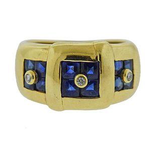 14K Gold Diamond Blue Stone Band Ring