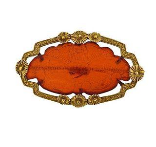 Antique 10K Gold Carved Amber Brooch Pin