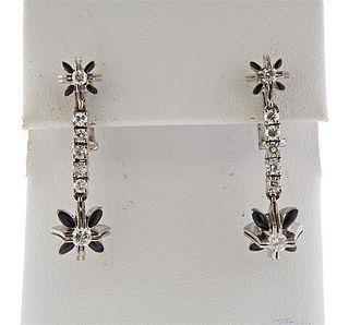 18k Gold Diamond Onyx Drop Earrings