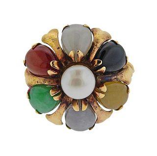 14K Gold Multi Color Jade Pearl Ring
