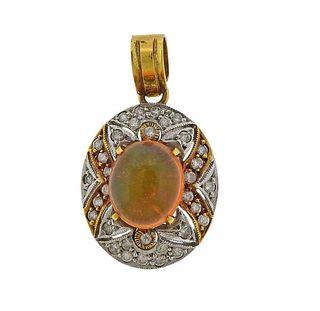 18K Gold Diamond Opal Pendant