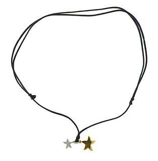 DoDo 18k Gold Diamond Star Pendant on Cord Necklace