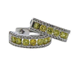 14K Gold Yellow White Diamond Hoop Earrings