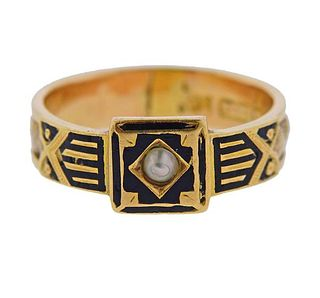 English Antique Victorian 15K Gold Pearl Enamel Band Ring