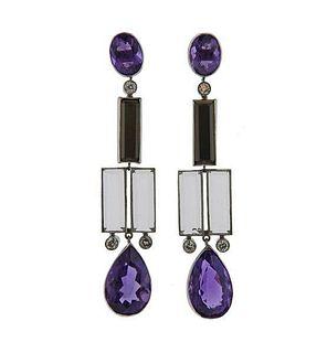Platinum Amethyst Diamond Onyx Crystal Earrings