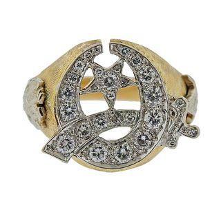 14K Gold Diamond Masonic Men's Ring