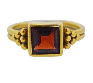 Temple St. Clair 18K Gold Garnet Ring