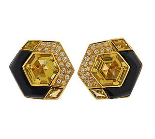 18k Gold Yellow Gemstone Diamond Enamel Earrings