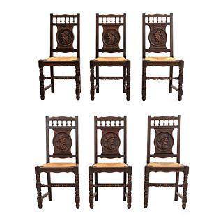 Lote de 6 sillas. Francia. Siglo XX. En talla de madera de roble. Con respaldos semiabiertos y asientos de palma tejida.