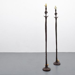 """2 Diego Giacometti (After) """"Tete de Femme"""" Floor Lamps"""