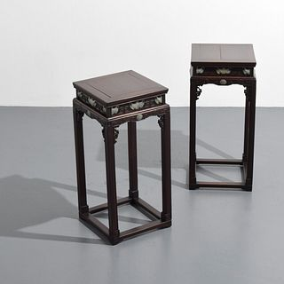 Rare Pair of 19th Century Finely Carved Zitan Tables
