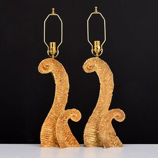 Pair of Gilt Bronze Lamps, Manner of Pierre Casenove
