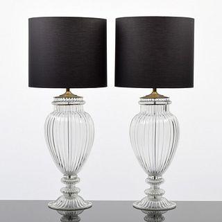 Pair of Monumental Murano Lamps, Manner of Barovier