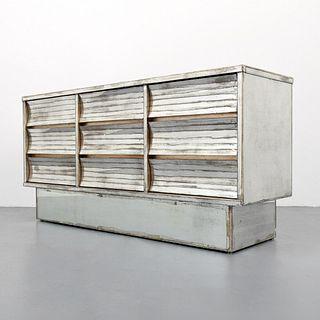 Antiqued Silver Leaf & Mirrored Cabinet/Dresser
