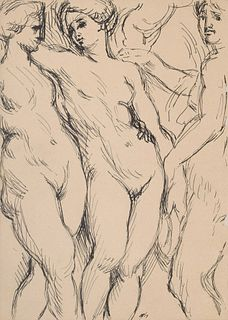 Harry Andrew Jackson Nude Figural Drawing