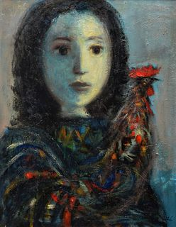 Hector Molne Painting, Portrait of Girl & Rooster