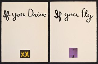 """Chris Burden """"If You Fly"""" Lithograph Diptych, Signed Ed"""